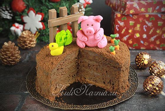 Торт Поросенок на Новый год 2019
