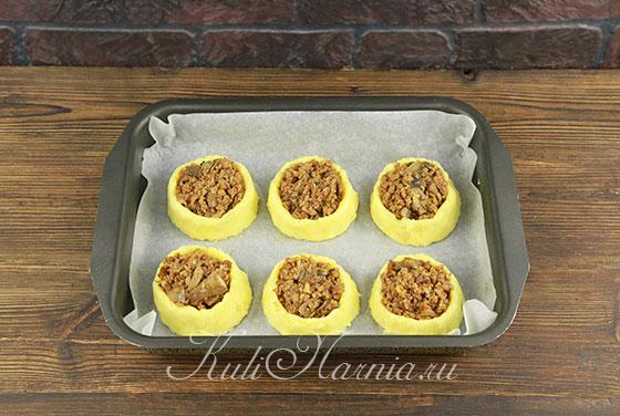 Рецепт картофельных гнезд с фаршем