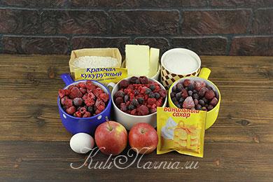 Ингредиенты для песочного пирога с ягодами