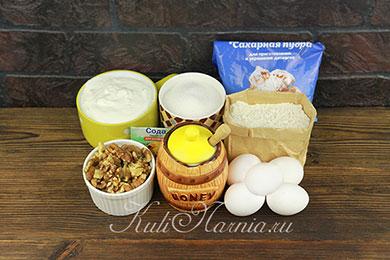 Ингредиенты для медового бисквита