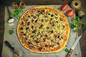 Пицца на кефире без дрожжей