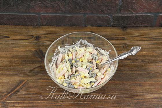 Салат с грибами и ветчиной