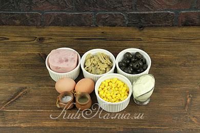 Салат с ветчиной и грибами рецепт