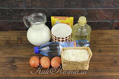 Ингредиенты для блинов на минералке