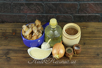 Ингредиенты для гречневых котлет с шампиньонами