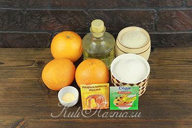 Ингредиенты для постного манника с апельсинами