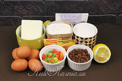 Ингредиенты для кулича без дрожжей на Пасху