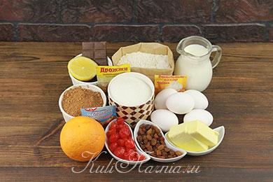 Ингредиенты для шоколадного кулича