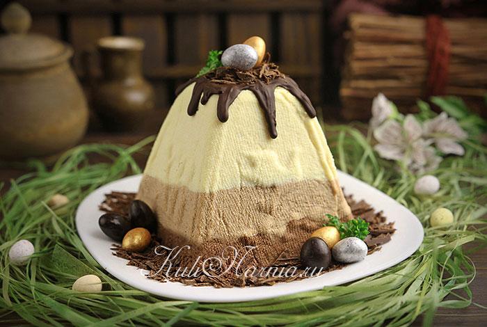 Заварная творожная пасха с шоколадом
