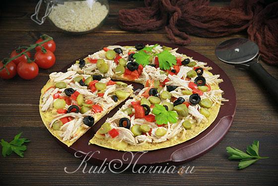 Быстрая пицца на сковороде в разрезе