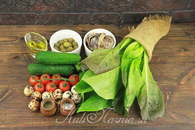 Ингредиенты для салата с консервированным тунцом