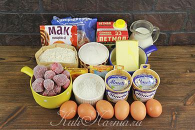 Ингредиенты для торта Клубничный поцелуй