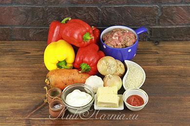 Ингредиенты для фаршированных перцев в духовке