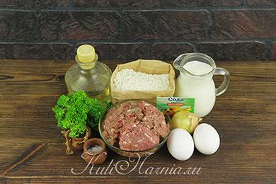 Ингредиенты для оладий с фаршем