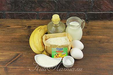 Ингредиенты для банановых оладий на кефире