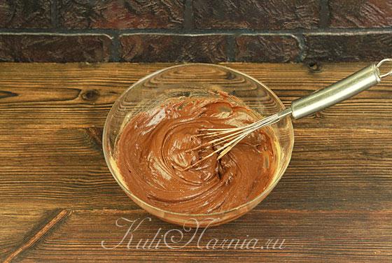 Добавляем муку и какао