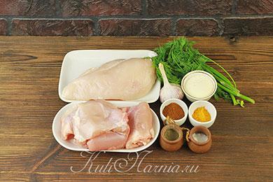 Ингредиенты для куриного рулета с желатином