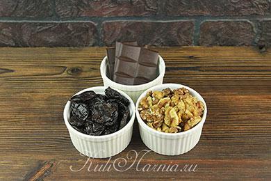 Ингредиенты для конфет чернослив в шоколаде
