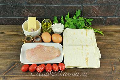 Ингредиенты для конвертов из лаваша