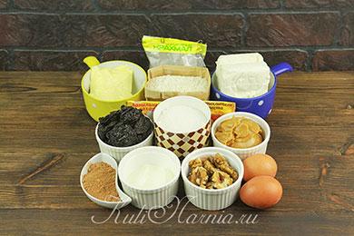 Ингредиенты для тертого пирога с творогом