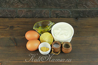 Ингредиенты для диетического майонеза