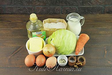 Ингредиенты для пирога с капустой на кефире