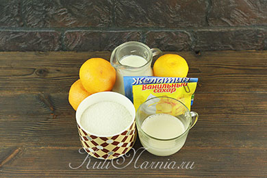 Ингредиенты для мандариновой панакоты