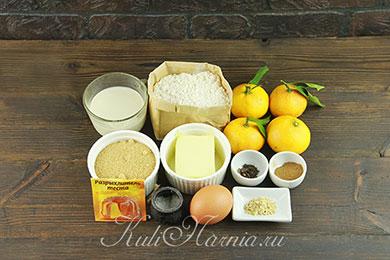 Ингредиенты для пирога с мандаринами