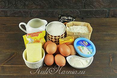 Ингредиенты для торта Мышки в сыре