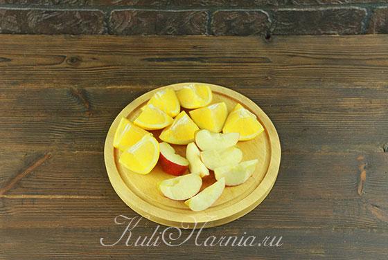 Режем яблоко и апельсин