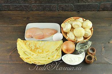 Ингредиенты для блинного пирога с курицей и грибами