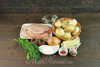 Ингредиенты для куриного рулета с грибами