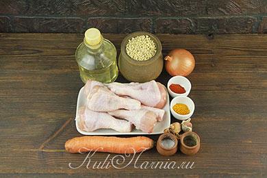 Ингредиенты для перловки с курицей в духовке