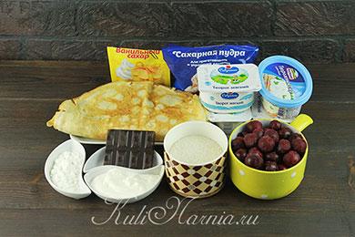 Ингредиенты для блинного торта с творожным кремом