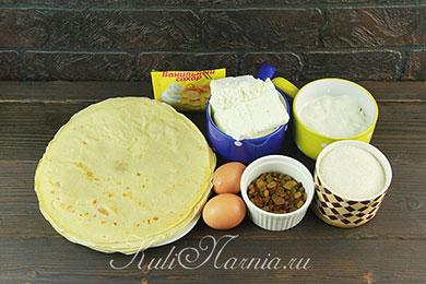 Ингредиенты для блинов с творогом в духовке