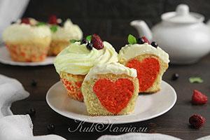 Капкейки с сердечками рецепт