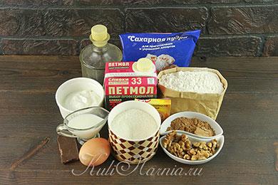 Ингредиенты для пирожного в микроволновке