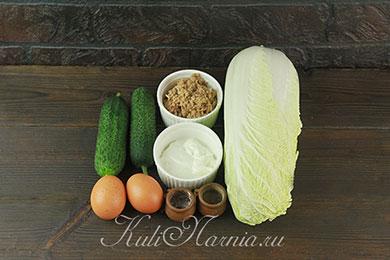 Ингредиенты для салата с тунцом и пекинской капустой
