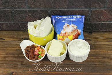 Ингредиенты для сырой творожной пасхи