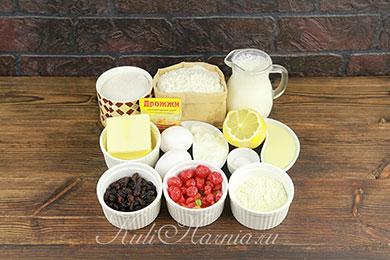 Ингредиенты для кулича на кефире с дрожжами