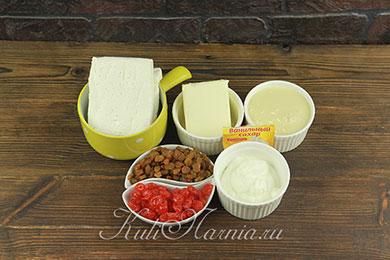 Ингредиенты для творожной пасхи со сгущенкой