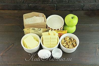Ингредиенты для блонди с яблоками