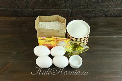 Ингредиенты для бисквита на кипятке