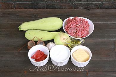 Ингредиенты для запеканки с кабачками и фаршем
