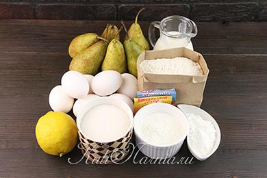 Ингредиенты для грушевого торта дюшес