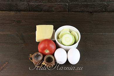 Ингредиенты для омлета с кабачком