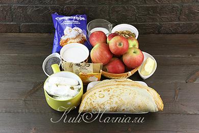 Ингредиенты для блинного торта с яблоками