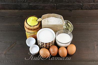 Ингредиенты для медового бисквита на кефире