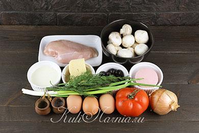 Ингредиенты для салата в виде быка