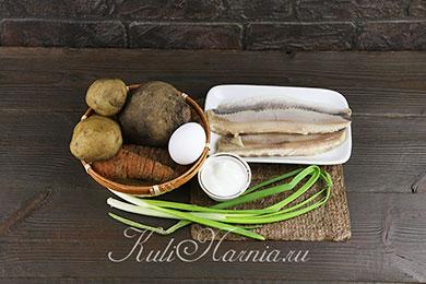 Ингредиенты для селедки под шубой в виде роллов